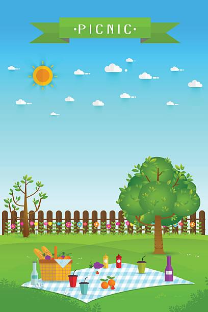 outdoor picnic in garden - ピクニック点のイラスト素材/クリップアート素材/マンガ素材/アイコン素材