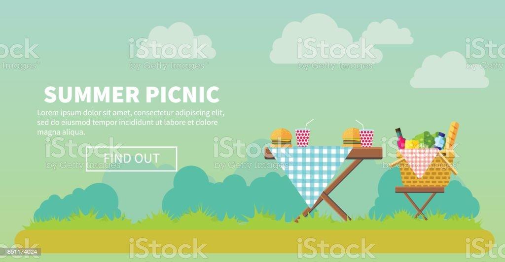 Outdoor picnic in park banner vector art illustration