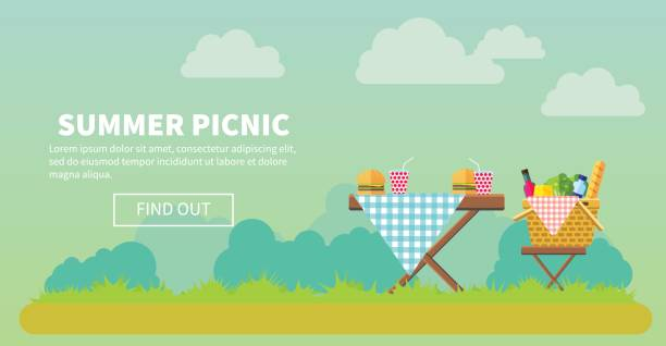 outdoor-picknick im park-banner - gartenparty stock-grafiken, -clipart, -cartoons und -symbole