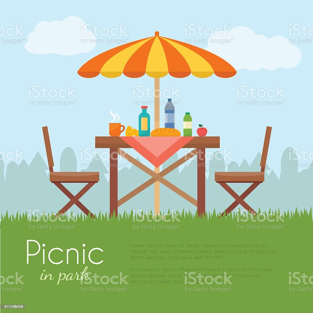 Outdoor picnic in park. vector art illustration