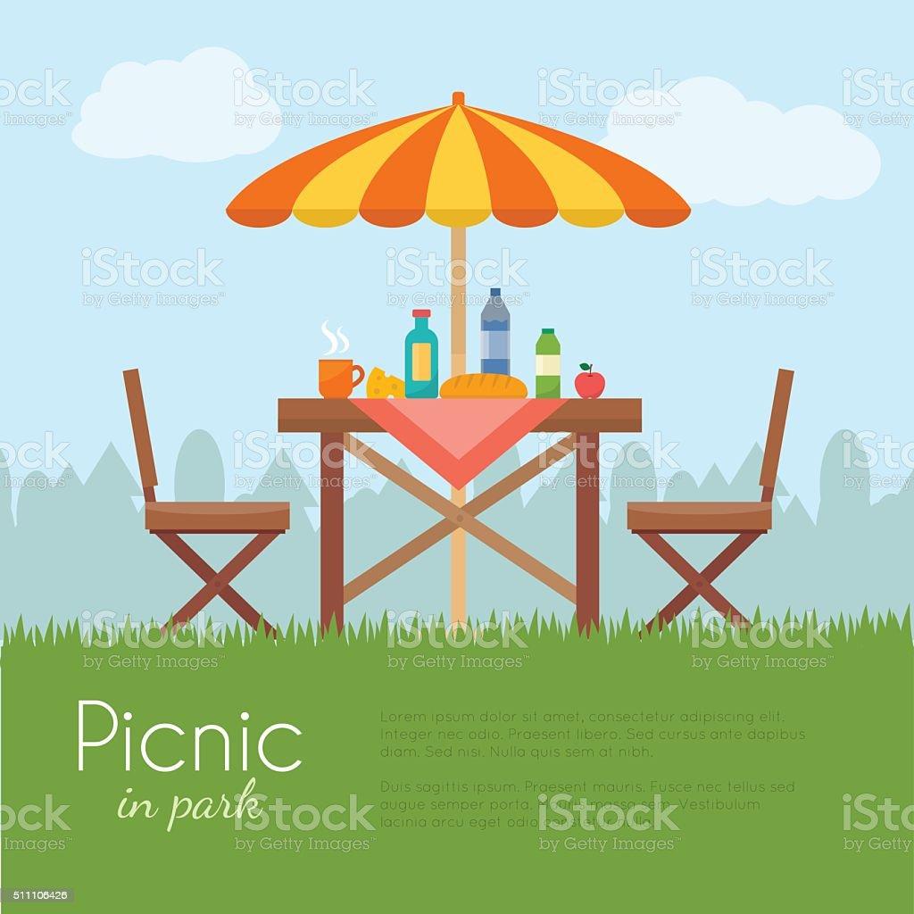 屋外の公園でのピクニックます。 ベクターアートイラスト