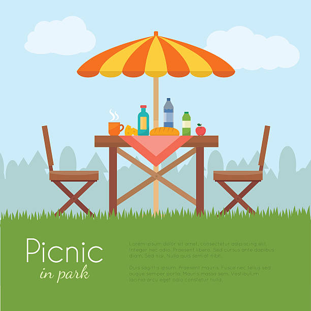 Outdoor picnic in park. Outdoor picnic in park. Table with chairs and umbrella. Flat style vector illustration. patio stock illustrations