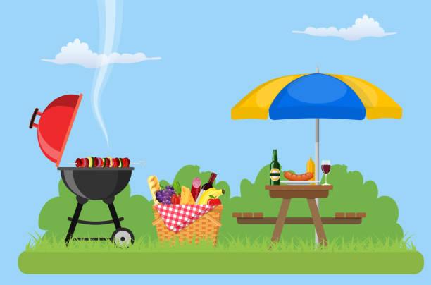 ilustraciones, imágenes clip art, dibujos animados e iconos de stock de día de campo al aire libre en el parque - picnic