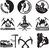 Outdoor pictures. Adventures and mountain climbing. Illustrations for labels or icon designs. Climbing extreme badge, icon climb expedition and tourism vector