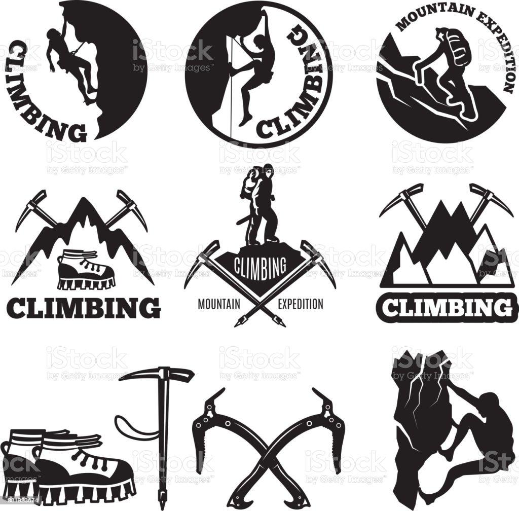 Photos en plein air. Aventures et alpinisme. Illustrations pour les étiquettes ou les conceptions de l'icône - Illustration vectorielle