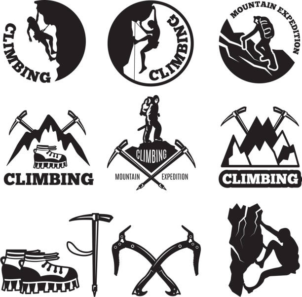 Outdoor pictures. Adventures and mountain climbing. Illustrations for labels or icon designs Outdoor pictures. Adventures and mountain climbing. Illustrations for labels or icon designs. Climbing extreme badge, icon climb expedition and tourism vector climbing stock illustrations