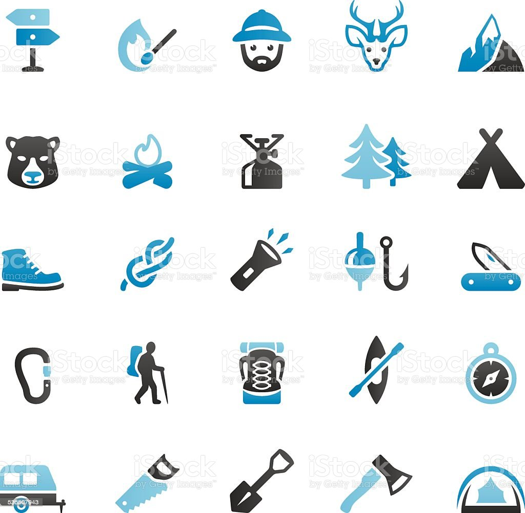 Outdoor Pursuit and Camping vector art illustration