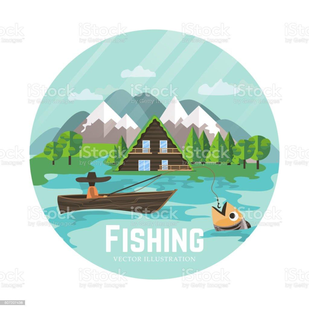 Outdoor recreation and fisherman vector art illustration