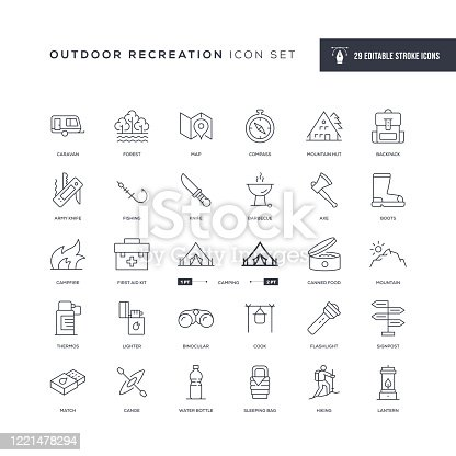 29 Outdoor Recreation Icons - Editable Stroke - Easy to edit and customize - You can easily customize the stroke with