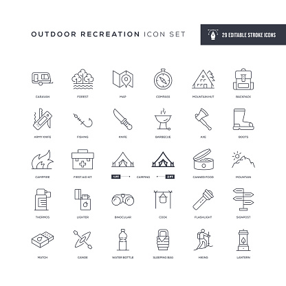 Outdoor Recreation Editable Stroke Line Icons