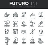 Outdoor Recreation Futuro Line Icons Set