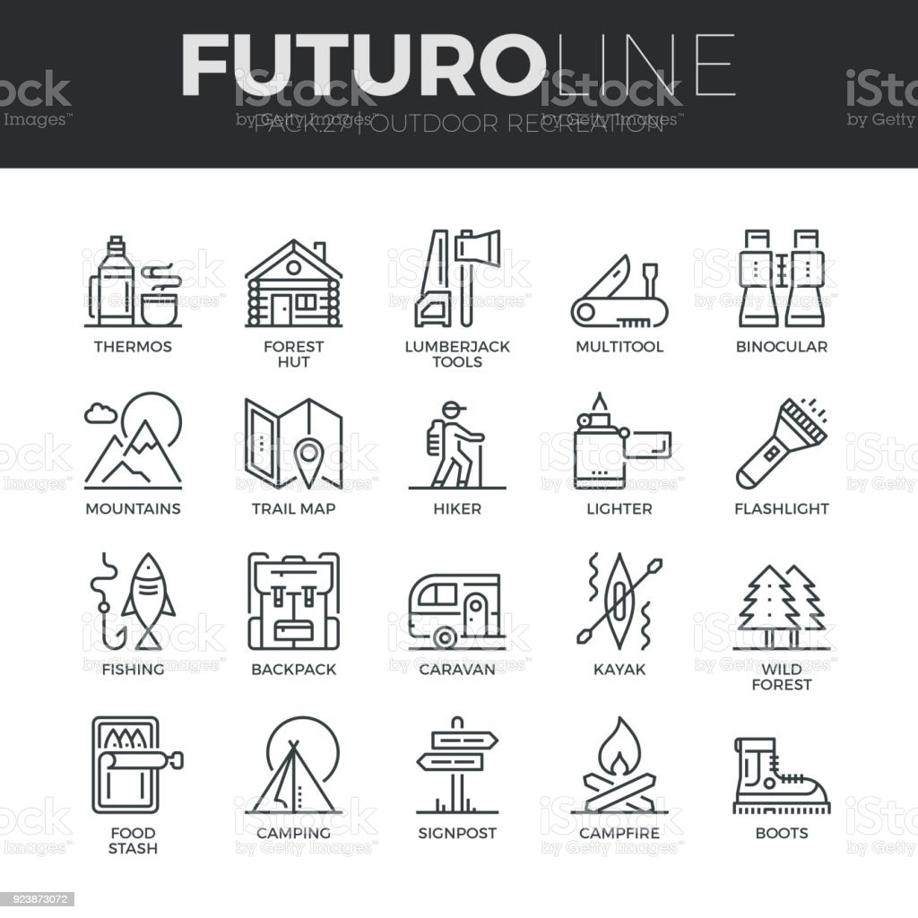 Outdoor Recreation Futuro Line Icons Set vector art illustration