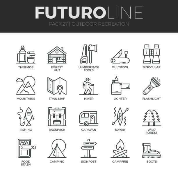 Outdoor Recreation Futuro Line Icons Set Modern thin line icons set of  outdoor recreation activity and hiking tourism. Premium quality outline symbol collection. Simple mono linear pictogram pack. Stroke vector symbol concept for web graphics. wilderness stock illustrations