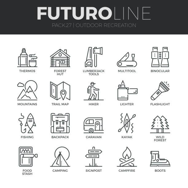 ilustrações, clipart, desenhos animados e ícones de conjunto de ícones de futuro linha de recreação ao ar livre - atividades ao ar livre