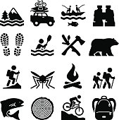 Camping, adventure and outdoors icons. Vector icons for print or Web projects.  What's included in this set: Landscape, Vacation, Fishing, Binoculars, Footprints, Kayak, Chopping Wood, Bear, Mountain Climbing, Mosquito, Fire, Hiker, Fish, Log, Mountain Biking, Backpack