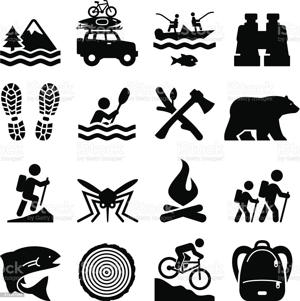 Outdoor Recreation Icons - Black Series vector art illustration