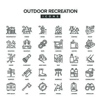 Outdoor Recreation Line Icon Set