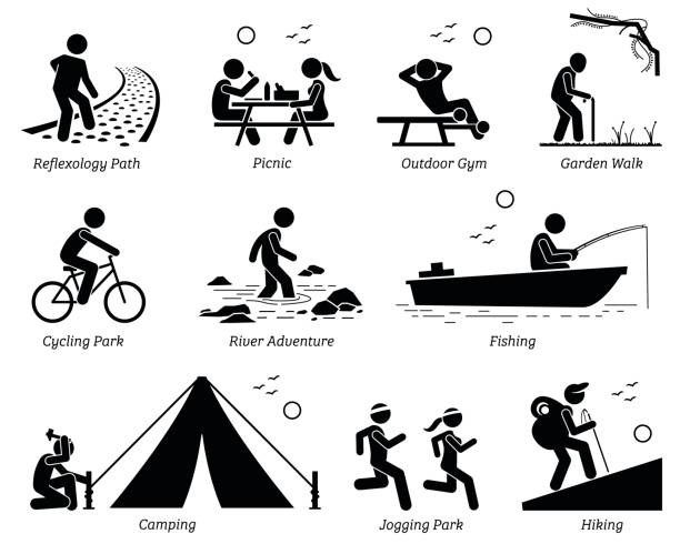 outdoor recreation recreational lifestyle and activities. - old man on bike stock illustrations, clip art, cartoons, & icons