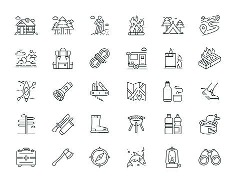 Outdoor Recreation Thin Line Icon Set Series