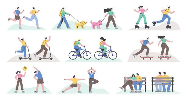 Outdoor recreational activities Set of people running, skateboarding, cycling, roller skating, exercising, kick scooting, doing yoga and resting. Fully editable vectors on layers. active lifestyle stock illustrations