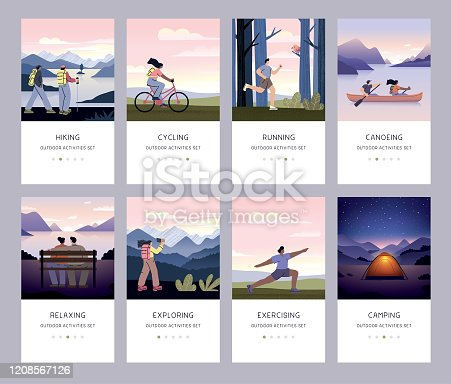 Collection of people running, cycling, canoeing, hiking, exercising and camping in nature.  Fully editable vectors on layers. This image includes transparencies, gradient meshes and one blend.
