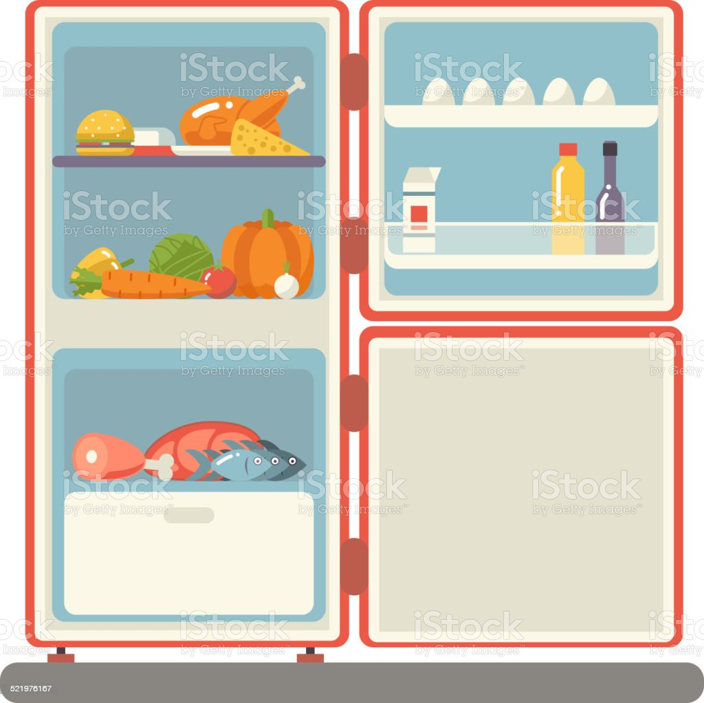 outdoor refrigerator with food products icon trendy flat design vector vector art illustration