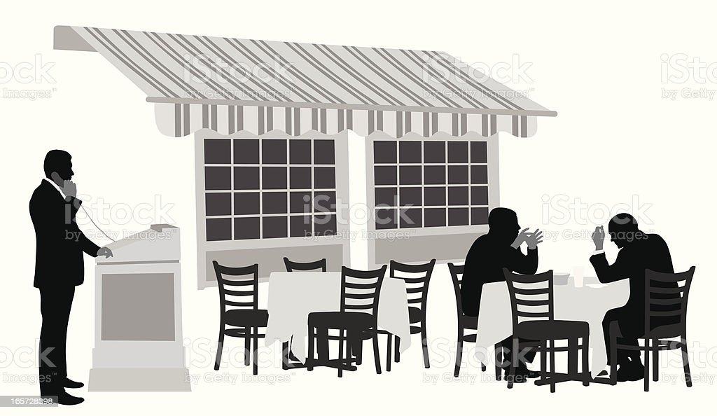 Outdoor Restaurant Vector Silhouette