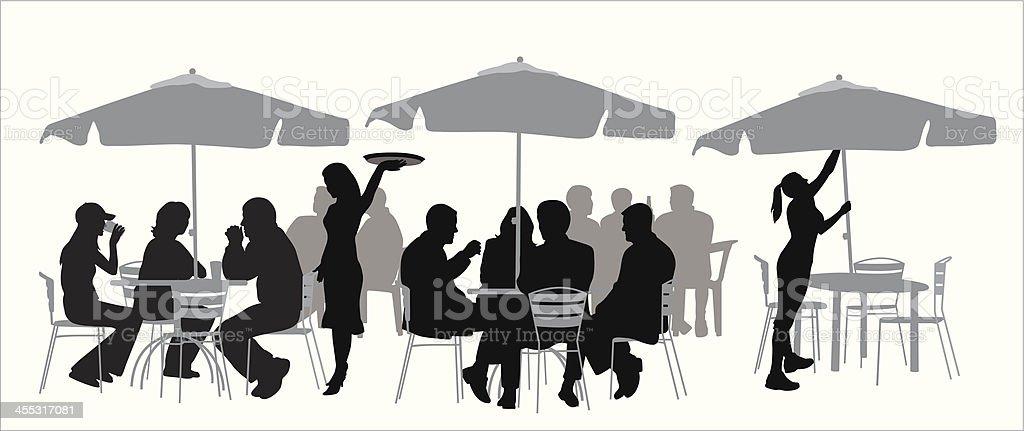 Outdoor Restaurant Vector Silhouette vector art illustration