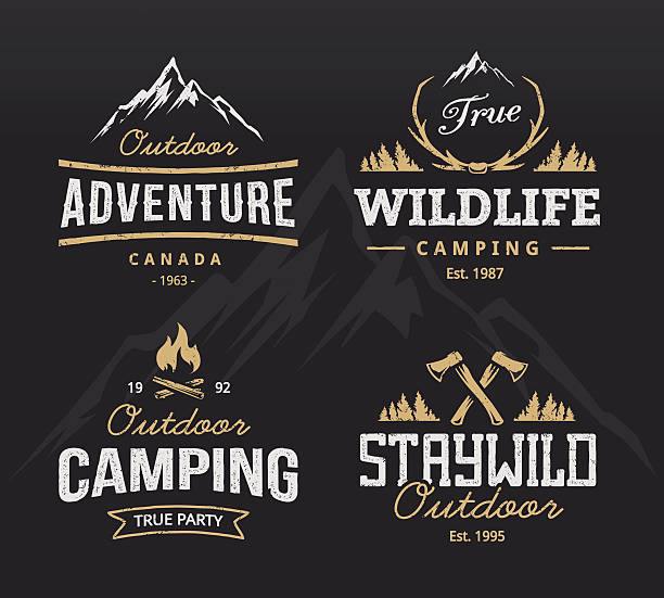 outdoor retro emblems - macera stock illustrations