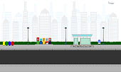outdoor road in the city bus stop station atm bin pole lamp sign horizontal vector illustration eps10