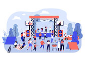 Outdoor rock concert and food festival. Crowd of people listening to music in park, enjoying camping, picnic and barbecue. Vector illustration for open air party, leisure, event concept