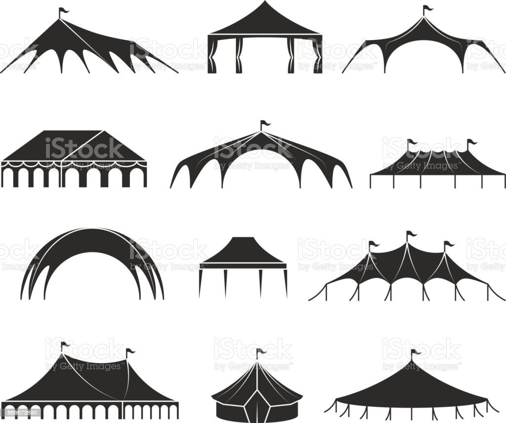 Outdoor shelter tent, event pavilion tents vector icons vector art illustration
