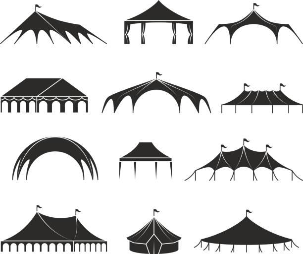 outdoor-shelter zelt event pavillon zelte vektor icons - dachzelt stock-grafiken, -clipart, -cartoons und -symbole
