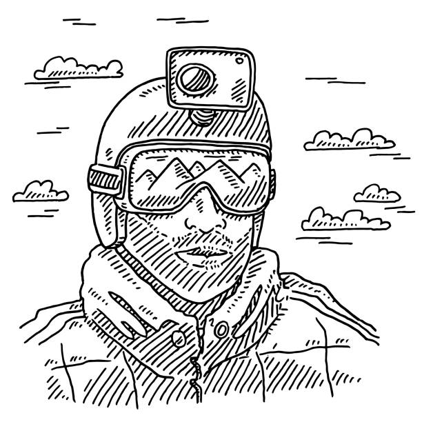 Outdoor Sportsman Helmet Camera Drawing Hand-drawn vector drawing of an Outdoor Sportsman with a Helmet and a mounted Camera. Mountains mirroring in the ski goggles. Black-and-White sketch on a transparent background (.eps-file). Included files are EPS (v10) and Hi-Res JPG. winter sport stock illustrations