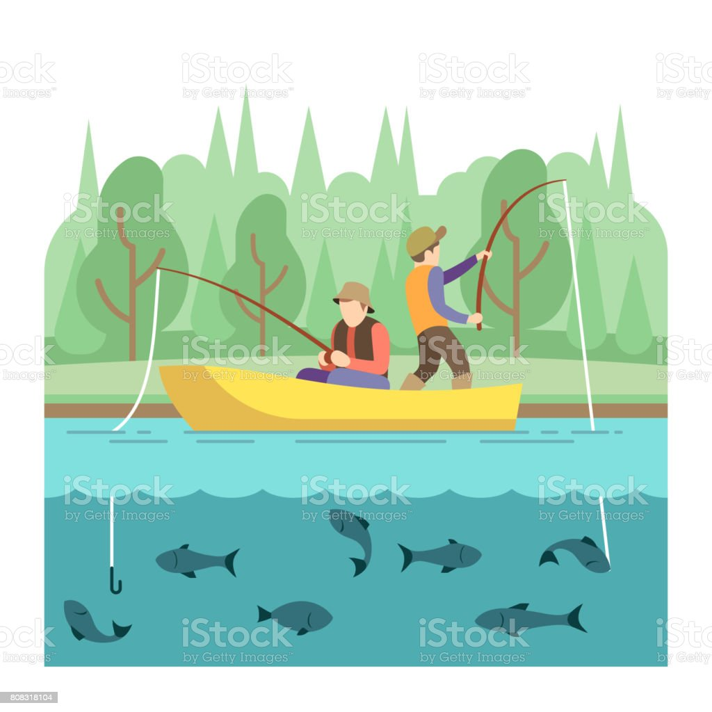 Outdoor summer activities. Fishing sport vector concept vector art illustration