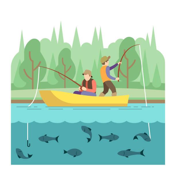 ilustraciones, imágenes clip art, dibujos animados e iconos de stock de actividades de verano al aire libre. concepto de vector de deporte pesca - pesca