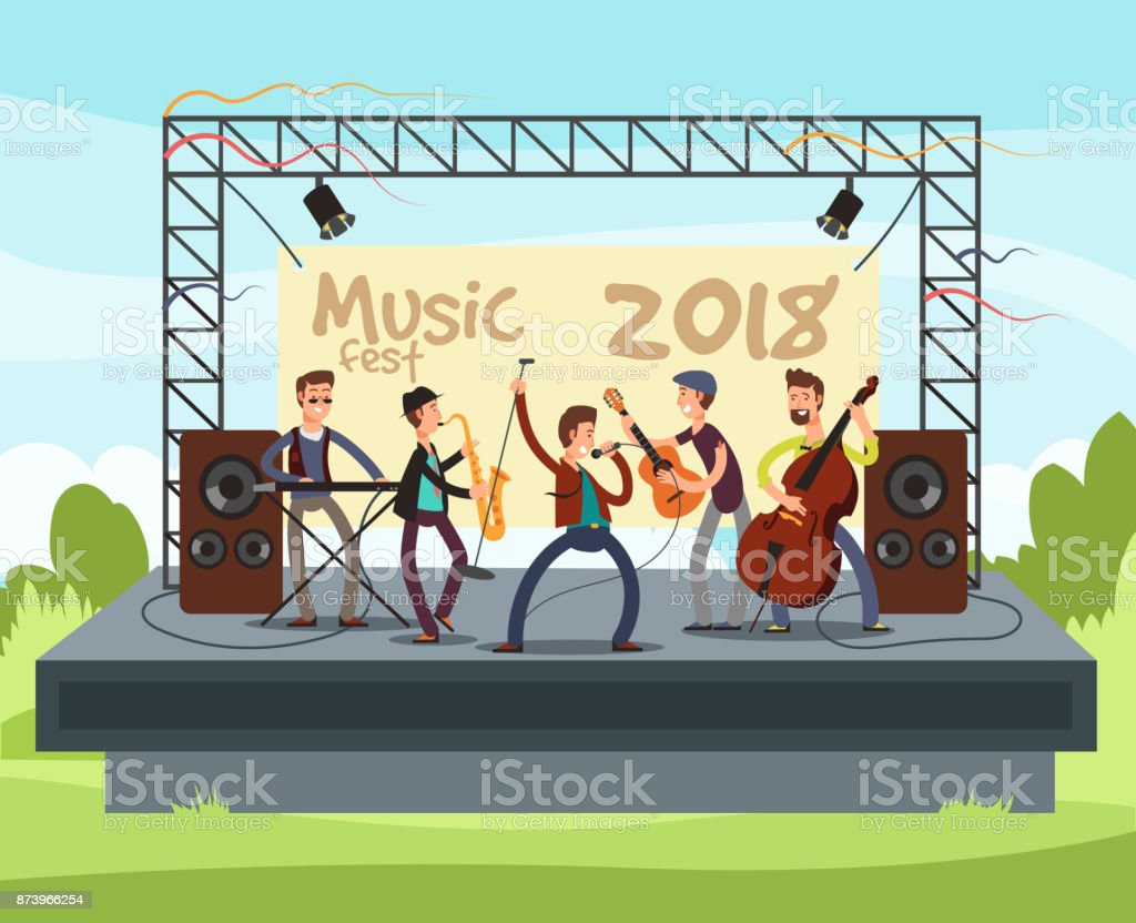 Outdoor summer festival concert with pop music band playing music outdoor on stage vector illustration