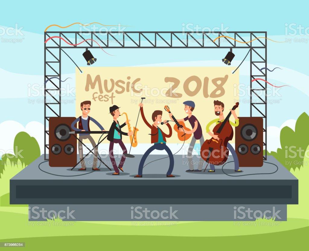 音楽を再生するには、屋外ステージ ベクトル イラスト ポップ ミュージック バンドの夏の屋外フェスティバル コンサート ベクターアートイラスト