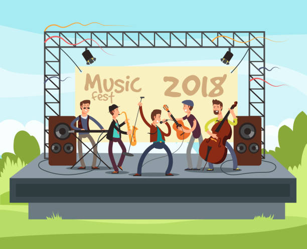 illustrazioni stock, clip art, cartoni animati e icone di tendenza di outdoor summer festival concert with pop music band playing music outdoor on stage vector illustration - turno sportivo