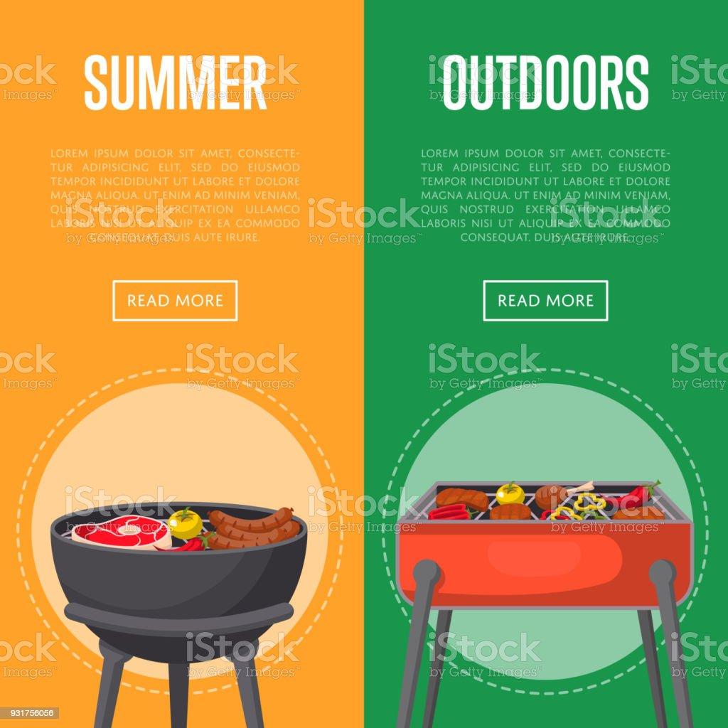 バーベキューの肉の夏の屋外ピクニック チラシ イラストレーションの