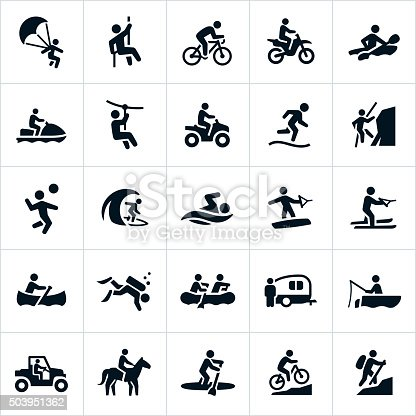 Icons depicting outdoor recreation activities performed in the summertime. The icons represent several common and popular activities that people take part in for fun. They include parasailing, rappelling, cycling, motorcycles, four wheelers, kayaking, watercraft, zip line, running, mountain climbing, volleyball, surfing, swimming, wake boarding, water skiing, canoeing, scuba diving, rafting, RV, camping, fishing, ATV, UTV, paddle boarding, mountain biking and hiking.