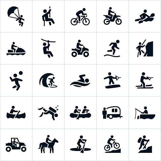 outdoor summer recreation icons - 休閒活動 主題 幅插畫檔、美工圖案、卡通及圖標