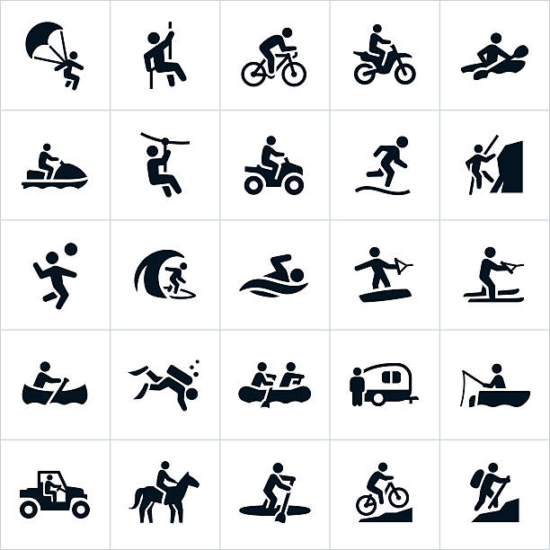 Outdoor Summer Recreation Icons vector art illustration