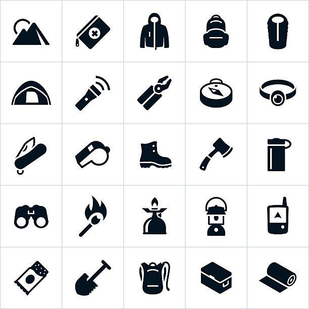 outdoor-survival-ausrüstung und zubehör - zeltausrüstung stock-grafiken, -clipart, -cartoons und -symbole