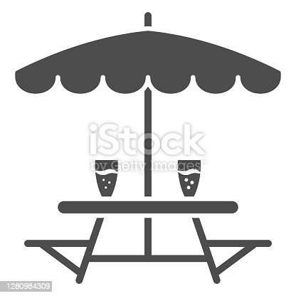 Outdoor table with benches solid icon, Oktoberfest concept, Outdoor camping furniture with umbrella sign on white background, Camping table icon in glyph style for mobile. Vector graphics