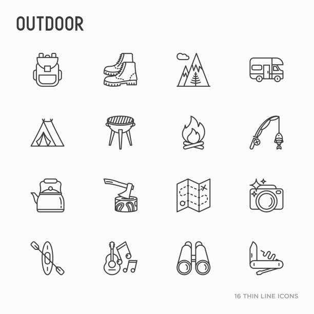 outdoor-dünne linie symbole satz: berge, rucksack, onkel stiefel, wasserkocher, axt, karte, schweizer messer, kanu, kamera, angelrute, fernglas. moderne vektor-illustration. - angelurlaub stock-grafiken, -clipart, -cartoons und -symbole