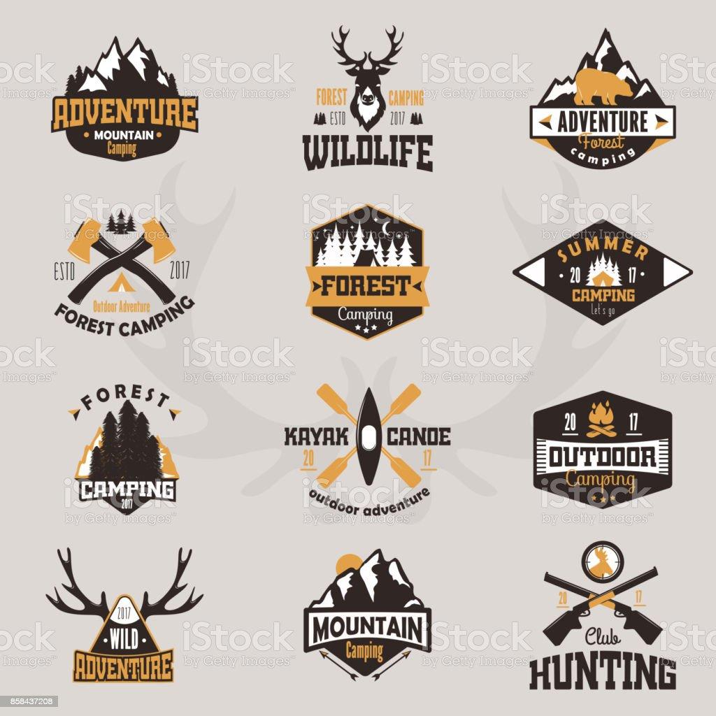 outdoor tourist travel icon scout badges template emblem vector