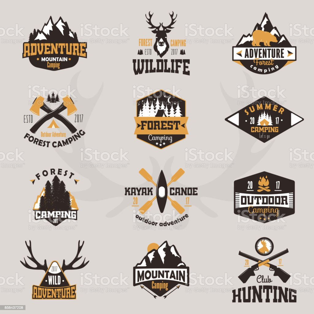 Outdoor tourist travel icon scout badges template emblem vector illustration collection