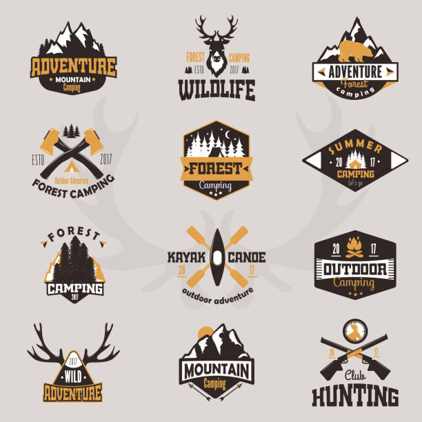 Outdoor tourist travel icon scout badges template emblem vector illustration collection vector art illustration