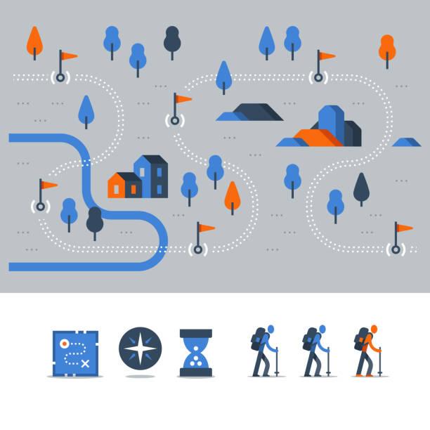 ilustraciones, imágenes clip art, dibujos animados e iconos de stock de pista al aire libre, senderismo mapa paisaje de campiña, nordic walking, concepto de orientación, ruta trail con banderas, iconos vectoriales - íconos de caminos